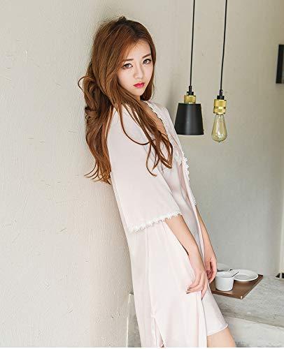 WXNLEAI Pijamas, traje de mujer, camisón, manga corta, seda, manga larga