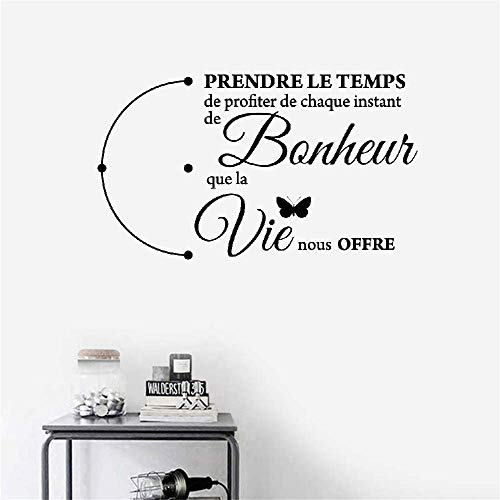 Hetsa Wall Decal Sticker Art Mural Home Dcor Quote French Quote Prendre Le Temps De Profiter De Chaque Instant De Bonheur Que La Vie Nous Offre for Living Room Bedroom -