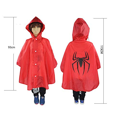 (Boqiao Christmas Halloween Costumes Kids Cape Raincoat,Waterproof Polyester Hooded Cosplay Party Cloak (Spiderman-red))