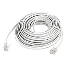 uxcell® 10M 33Ft Length 6P2C RJ11 Male Phone Telephone Extension Connector Cable Cord White