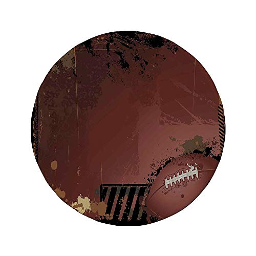 - Non-Slip Rubber Round Mouse Pad,Sports,Maroon Grunge Rugby Theme with Game Elements Competition Win Sports Artisan Image,Brown Black,11.8