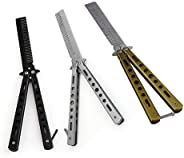Butterfly Stainless Steel Training Practice Hair Comb Tool, Trainer with Sure Spring Latch Folding Practice, S