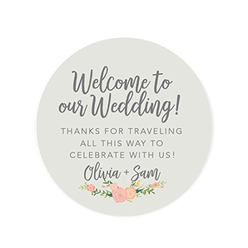 Andaz Press Personalized Out of Town Bags Round Circle Gift Labels Stickers, Welcome to Our Wedding Thanks for Traveling to Celebrate With Us, Classic Florals, 40-Pack, Custom For Destination OOT
