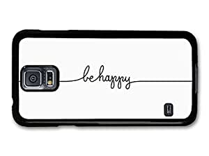 AMAF ? Accessories Be Happy Line Drawing Life & Love Inspirational Quote case for Samsung Galaxy S5