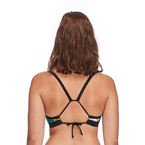 Body Glove Womens Drew D Selva Ribbed Black DD E F Cup Bikini Top Swimsuit with Adjustable Tie Back