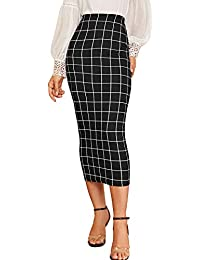 Women's Elegant Plaid Elastic Waist Bodycon Midi Skirt