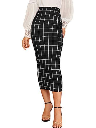 Verdusa Women's Elegant Plaid Elastic Waist Bodycon Midi Skirt Black XL