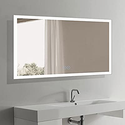 DECORAPORT Vertical LED Wall Mounted Lighted Vanity Bathroom Silvered Mirror with Touch Button - 24 Inch * 32 Inch (DK-OD-N031)