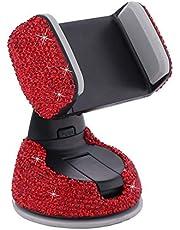 MoreChioce uchwyt samochodowy na telefon komórkowy, obracany o 360 stopni, błyszczący stras, dekoracja, smartfon, telefon komórkowy, deska rozdzielcza, kompatybilny z iPhone Galaxy Huawei, czerwony