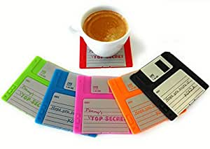 Set of 6 Floppy Disk Coasters - Fun, Colorful Decoration for your Table | GR8 Gift for Computer Enthusiasts