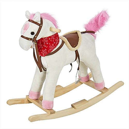 Best Choice Products Rocking Horse Plush Pink with Sound