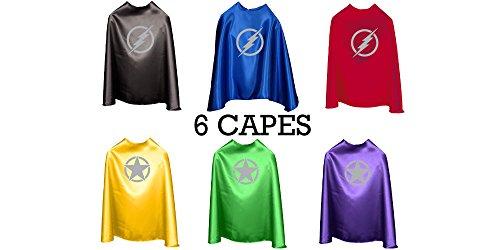 Superfly Kids Superhero Cape With Printed Emblem Set Of 6 (Lightning Bolts)