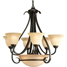 "Progress Lighting P4417 Torino 6 Light Chandelier with Etched Glass Shades - 30"","