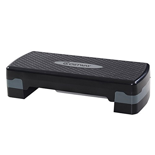 Costway 27' Fitness Platform Aerobic Stepper with Risers-Adjustable from 4' to 6' Exercise Stepper...