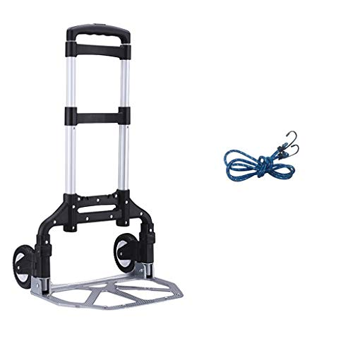 (QQ888 Model Industrial Folding Hand Truck Portable Heavy Duty Aluminum Folding Hand Truck with Rope (Color : A))