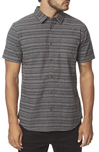 - O'Neill Men's Modern Fit Short Sleeve Button Down Shirt (Black Heather/Collins, M)
