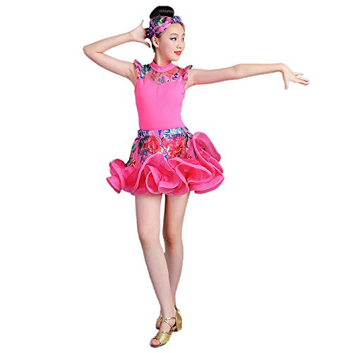 Children's Dance Costumes, Girls' Fluffy Skirts Latin Rumba Practice Dance Suits, Suitable for Stage Performances, National Standard Dance (110-170cm) -