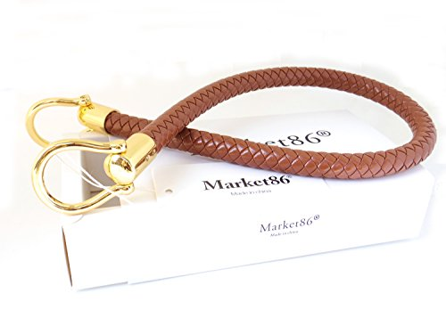 market86 13mm Width DIY Handbag Accessories Braided Pu Leather Purse Handles Handbag Replacement Straps Detachable Bunckles Length 23.6 Inches (Camel)