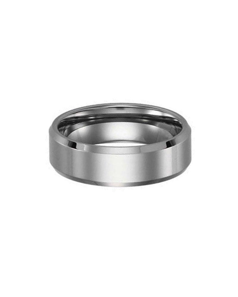 Polished Tungsten Carbide Beveled Edge Wedding Ring Band Size 10