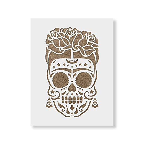 Sugar Skull Frida Stencil Template for Walls and Crafts - Reusable Stencils for Painting in Small & Large Sizes]()