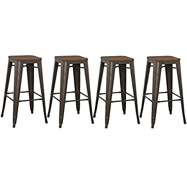 BTEXPERT Modern 30 inch Solid Steel Stacking Industrial Tabouret Rustic Metal Bar Stool with Wood Top (set of 4 barstool)