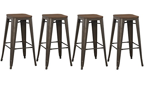 BTExpert Bar Stool, Modern Solid Steel Stacking Industrial Rustic Metal with Wood Top Set of 4 Barstool