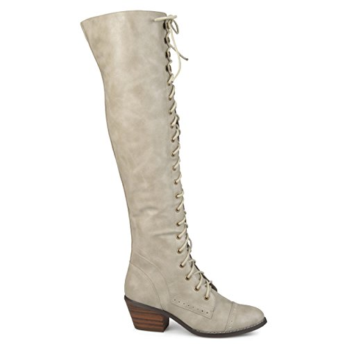 Brinley Co Womens Blitz Faux Leather Regular and Wide Calf Over-The-Knee Lace-up Brogue Boots Stone