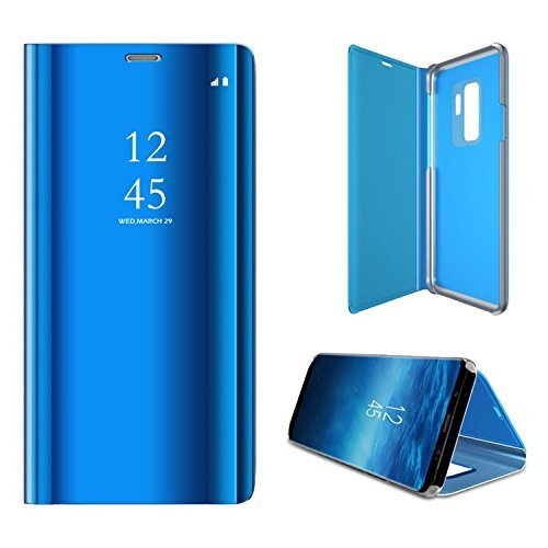 ATRAING Galaxy S9 Plus Case, A Trading Luxurious Mirror Smart Electroplate Translucent Stand Flip Cover For Samsung Galaxy S9 Plus (Semi Blue Movies)
