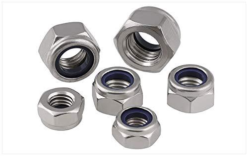 fullerkreg M5x 0,8mm DIN985selbstsperrenden Nylon einfügen Hex Lock Muttern, Edelstahl A2–70/304/18–8,, Uni Finish, Menge 100 Edelstahl A2–70/304/18–8, Fullerdongluo