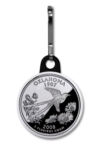 OKLAHOMA State Quarter Mint Image 1 inch Zipper Pull Charm