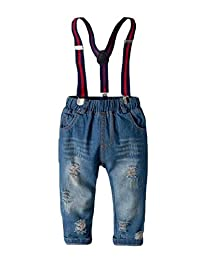 pipigo Boys' Baby Kids' Suspender Ripped Jeans Denim Pant