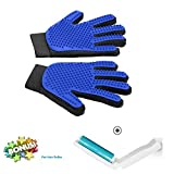 Left&Right Pet Grooming Gloves Mitts, Pet Deshedding Bathing Massage Brush Glove Comb