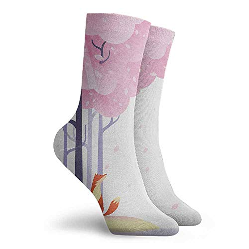 Fox High Ankle Crew Socks Hiking Walking Socks Pale Pink Orange Lavender (Pink Sock Monkey Lovey)