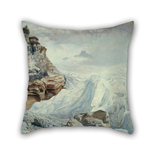Oil Painting John Brett - Glacier Of Rosenlaui Pillowcase 18 X 18 Inches / 45 By 45 Cm Best Choice For Bedroom,wedding,indoor,valentine,floor,father With Twin Sides (Bretts Outdoor Furniture)