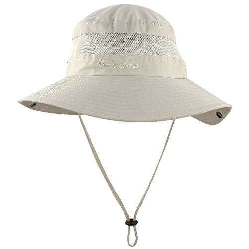 Summer Boonie Sun Hat UV Protection UPF50+ Hats Wide Brim Bucket Safari Cap for Men Women Beach Fishing Hunting Hiking Camping Beige (Bucket Beige)