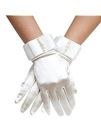 Aivtalk Buckingham Palace Wrist Length Stretch Gloves with Pearls