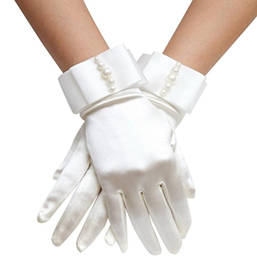 alace Wrist Length Stretch Gloves with Pearls White One Size (Short White Satin Gloves)