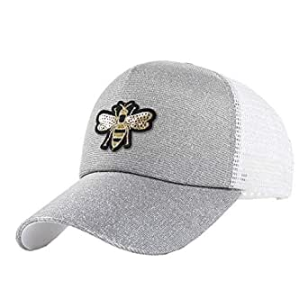 Naimo Women Sequins Shiny Gradient Color Messy Snapback Hat Sun Cap - Silver - One Size