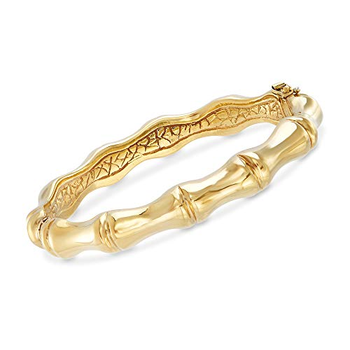 - Ross-Simons Italian 18kt Yellow Gold Over Sterling Silver Bamboo Bangle Bracelet