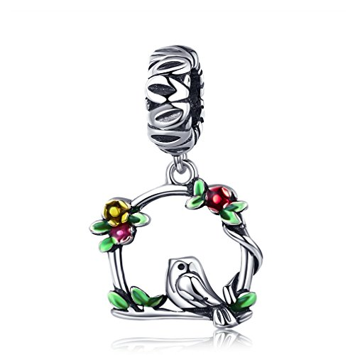 (LeeFeel S925 Bird Floral Dangle Charm 925 Sterling Silver Retro Bird in Woods Leaves Charms Fit Charm Bracelet & Choker Necklace )