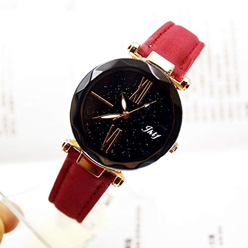 Pocciol 2019 Luxury Watch Womens Casual Watch with Leather Strap Band Analog Quartz Starry Sky Wristwatch for Ladies (Red) by Pocciol Cheap-Nice Watch (Image #2)