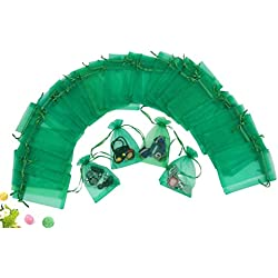 "Wuligirl 100 PCS Green Party Wedding Bags Pouches Candy Bags Marbles Coins Bags Organza Gift Bags with Drawstring (100 pcs Green, 4x6"")"
