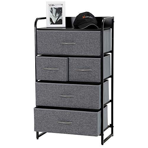 - Kamiler 5-Drawer Dresser, 4-Tier Storage Organizer, Tower Unit for Bedroom, Hallway, Entryway, Closets - Sturdy Steel Frame, Wooden Top, Removable Fabric Bins