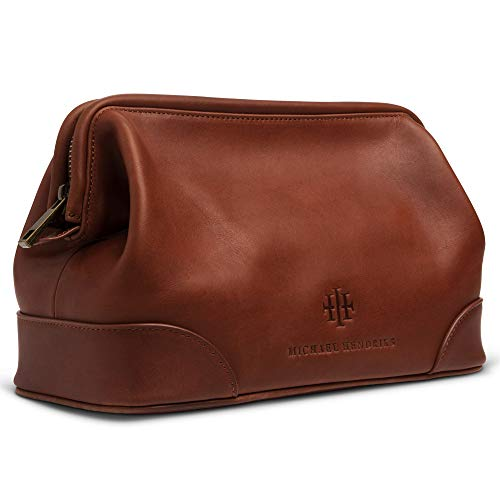 Executive Leather Toiletry Bag for Men, Large 11 Leather Dopp Kit for Men – Wash Bag, Shaving Kit, Toiletries, Grooming Supplies, Gift, Travel Mens Leather Toiletry Bag – Real Genuine Brown Leather