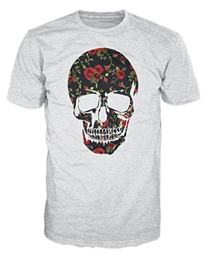 Skull Roses Print Swag T-shirt (S, Ash (Rose Ash Grey T-shirt)