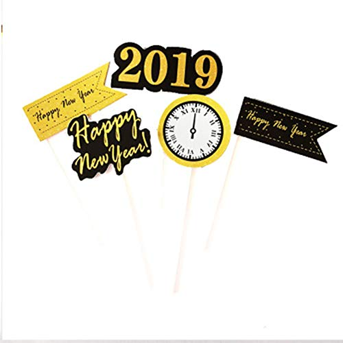 MZYARD 30 pcs Happy New Year 2019 Cupcake Toppers Wooden Cake Decorative Picks Party Supplies Decorations