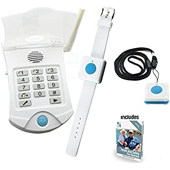 Medical Alert Systems for Seniors No Monthly Fee medical alert system - no monthly charges - Includes WATERPROOF Pendant and Wrist Wireless Help Buttons - Elderly Home Help Alarm Life Monitor