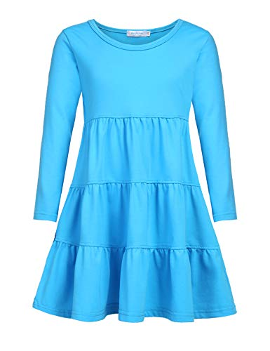 Arshiner Girls' Super Soft Cotton Long Sleeve Tiered Dress, Blue, 90(Age for 2-3Y)
