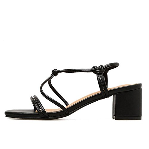 Sandals Toe Ankle Pumps GAOLIXIA High Thick Strap Roman Apricot Red Shoes PU Summer Black Ladies Court Black Shoes Heels Open Women 8wAqIP