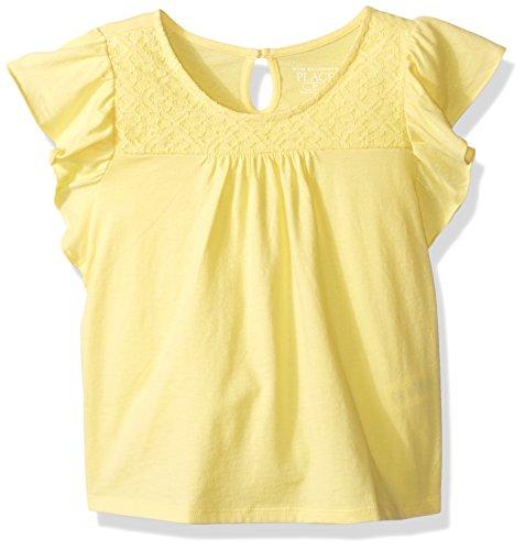 Yellow Ruffle Shirt Top (The Children's Place Toddler Girls' Her Li'l Short Sleeve Ruffle Top, Sunshine,)